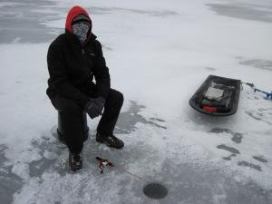 Josh Jigging on the ice