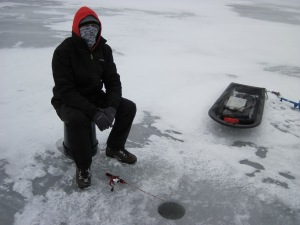 Josh Jigging on the ice